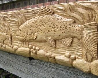 Carved Oak Mantel/Beam