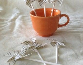 Mini book page pinwheels, cupcake topper