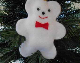 Felt teddy bear Christmas ornament