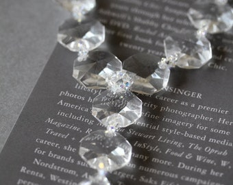 Long Crystal Necklace, Costume Jewelry, Y-shaped necklace