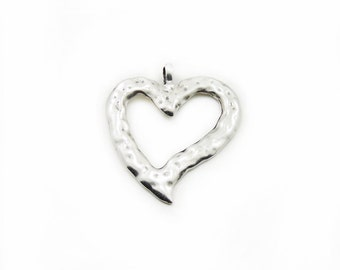 Heart Pendant, Metal Heart Pendant, Large Heart Pendant, Metal Heart, Craft Supplies, Metal Pendant, Antique Silver Pendant, Jewelry Making