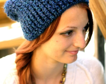 Crochet, Slouchy Beanie, Hat, Dark Blue