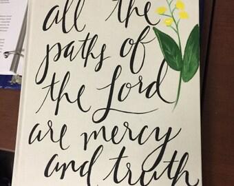 Custom Bible Verse on Canvas Journal