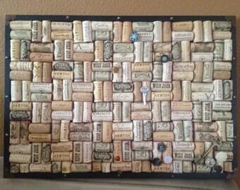 Handmade wine corks corkboard with button push pins