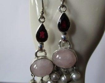 Boho Sterling Garnet, Rose Quartz and Pearl Chandelier Earrings