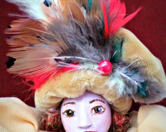 Baroque style clay entirely made handmade doll