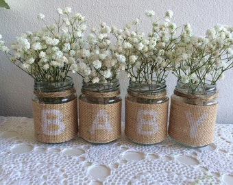 Rustic Baby Shower Jars - Burlap & Twine - Stencilled BABY Letters - Great for Flowers or Candles