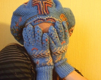A magic beret with archaic Estonian embroidery and gloves