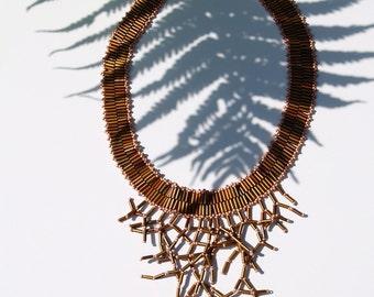 Beaded statement necklace Dryopteris erythrosora