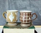 vintage pedestal mugs, made in Japan . vintage coffee mugs set