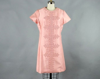 1960s pink silk dress . 60s shift dress . shimmering pink vintage dress w/ asian inspired applique, size medium large . dupioni silk