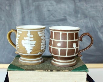 vintage pedestal mugs, made in Japan . vintage coffee mugs set