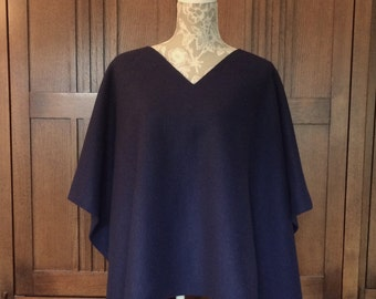 Fleece Sweater Poncho Wrap Cape Onesize V Neck Open Sides Black 4 Colors EdgeTopstitching Handmade