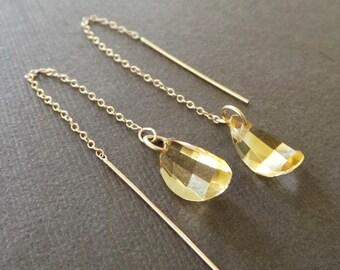 Citrine Petal Gold Threader Earrings Long Dangle Chain Earrings
