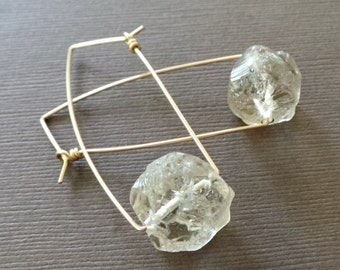 Rough Light Smoky Quartz Nugget Earrings Dangle Earring Contemporary Simple Earrings Rough Crystal Quartz Earrings
