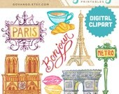 PARIS Digital Collage Clipart Instant Download Illustration France Travel Bonjour Parisian Eiffel Tower French Macaroons Notre Dame