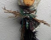 OOAK art doll,  Anabella, Spirit Art doll,  Moon Goddess, Green Witch, Eco Botanical art doll