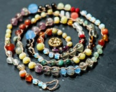 Juicy Crocheted Gemstone Necklace Long Multicolored Colorblocked Boho Vintage Button Closure Wrap Bracelet Jewelry