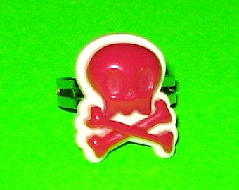 Skull and Crossbones Kyuuto Punk Pink Black White Adjustable Ring - More Colors