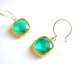 The Josie- Emerald Green Crystal and Gold Earrings