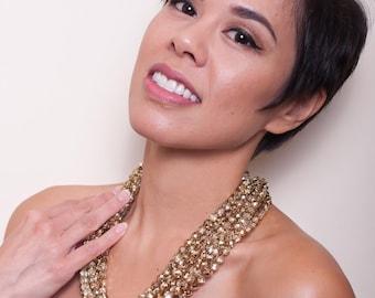 Rebecca - Gold Glass Bridesmaid Statement Necklace