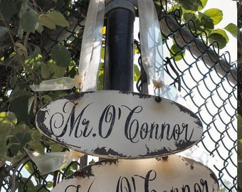 Personalized Mr and Mrs Signs. Wedding Chair Sign. Wedding Sign. Rustic Wedding. Wedding Decor. Wedding Reception. Wedding Ceremony.