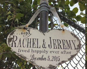 and they lived HAPPILY EVER AFTER Heart Sign / Name Sign / Wedding Sign / Personalized Sign / Ring Bearer Sign / Flower Girl Sign / Rustic