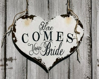 HERE COMES Your BRIDE Sign | Heart Shaped Sign | Wedding Signs | Ring Bearer Signs | Flower Girl Signs | Wooden Heart Sign | Shabby Chic