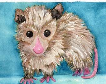 Original Possum Watercolors Paintings Original, Opossum Wall Art, animal artwork, baby possum, original watercolor painting