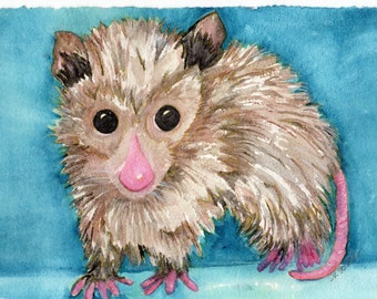 Possum Painting, Possum Watercolors Paintings Original, Opossum Wall Art, animal artwork, baby possum, original watercolor painting