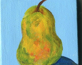 Pear mini painting, Canvas, Easel, 3 x 3, mini canvas, small fruit decor, acrylic painting, Green, yellow, red little pear SharonFosterArt