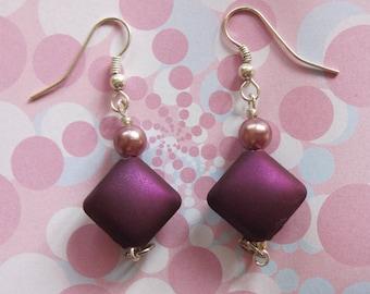 Drop Your Purple Beaded Pierced Earrings