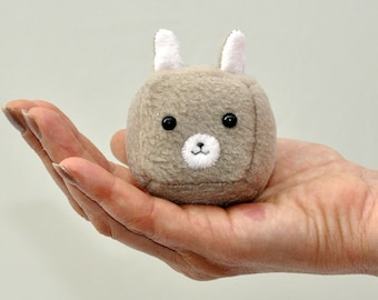 Kawaii Cube Bunny Keychain Plush, Kawaii Animal Stuffed Toy - MADE TO ORDER