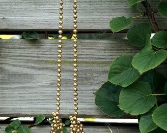 Vintage Brass Necklace Super Long Brass Bead Ball Chain Adjustable Necklace Boho Retro Raw Brass Gold Beads Necklace Vintage Jewelry Womens