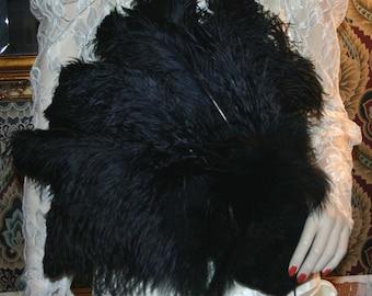 Edwardian Wedding Fan - Flirty Feathers - Downton Abbey Fan Titanic Fan Steampunk Fan Gothic Fan