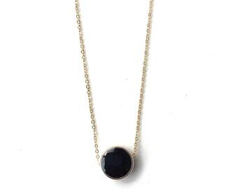 Black Enamel Circle Necklace