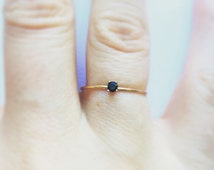 Tiny Black Spinel Ring 14kt Gold