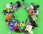 Chunky Halloween Charm Bracelet - handmade polymer clay charms, green purple orange black, ghost Frankenstein pumpkin eyeball mummy spider