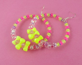 Pink and Neon Yellow Beaded Hoop Earrings - circle earrings, tri beads, Sweet Lolita, Fairy-Kei, fluorescent colours, cute colourful kitsch