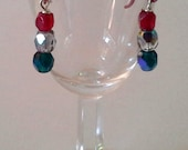 Red, Silver, Emerald Beads Equal Earrings
