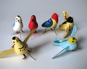 Vintage - Birds - Pins - Tacks - Mid Century - Decor - Art Supply - Wood - Japan