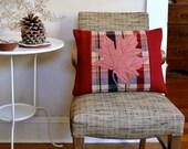 Maple Leaf Pillow Wool Applique Rustic Decor