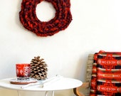 Wool Wreath in Red Wine & Spice Brown / Rustic Winter Decor