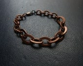 vday sale - hypotheses - simple copper textured link chain bracelet - minimal layering unisex jewelry