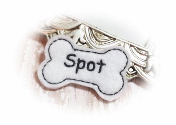 Felt Bone Dog Bow - White Boy Dog Bone PERSONALIZED with your pet's name - Dog Bow Feltie, Bone Dog Hair Bow, Pet Hair Accessory