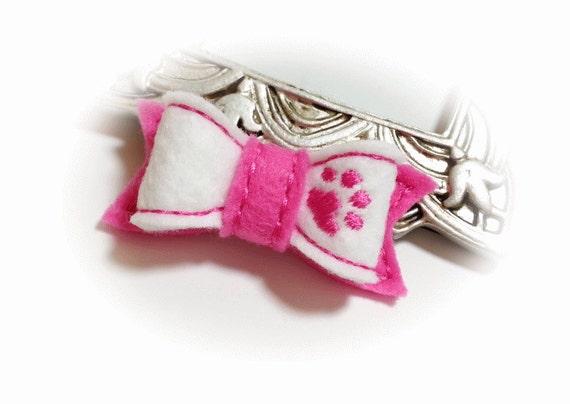 Puppy Dog Bow - White Pink Paw Dog Bow - Felt Dog Bow - Felt Dog Bow Tie - Small Dog Bow