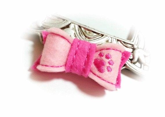 Pink Dog Hair Bow, Fuchsia Dog Bow, Girl Dog Bow, Puppy Paw, Felt Dog Bow, Embroidery Design