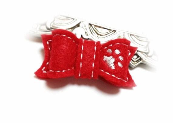 Dog Bow- Show Dog Bow- Dog Paw - Felt Dog Bow - Red Dog Bow