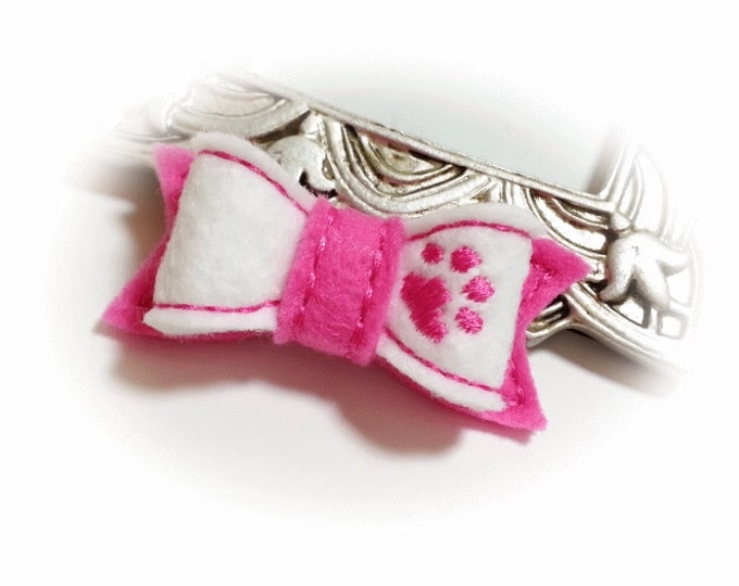 Pink Dog Bow with Paw, Girl Dog Bow, Pet Hair Bow, Dog Accessories, Pink Paw Bow, Embroidered Pink Paw, Handmade Dog Bow