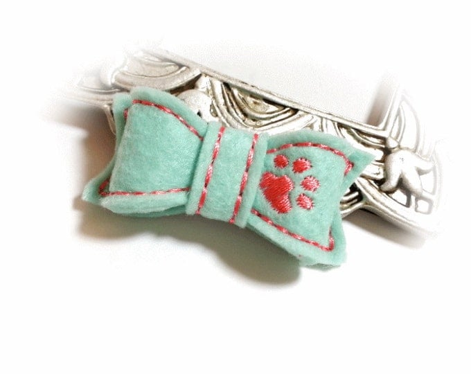 Dog Bow, Pet Bow, Grooming Bow, Aqua Dog Bow, Dog Hair Bow, Pet Grooming Bow, Pet Accessories, Girl Dog Bow, Dog Paw, Embroidered Bow